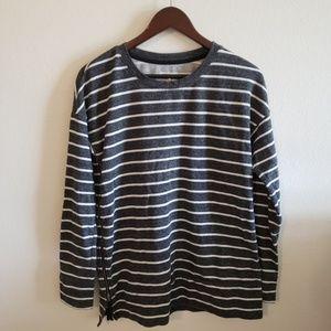 Lou & Grey Striped Side Zip Sweater